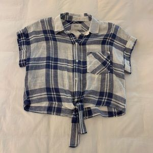 rails blue & white plaid short sleeve with tie